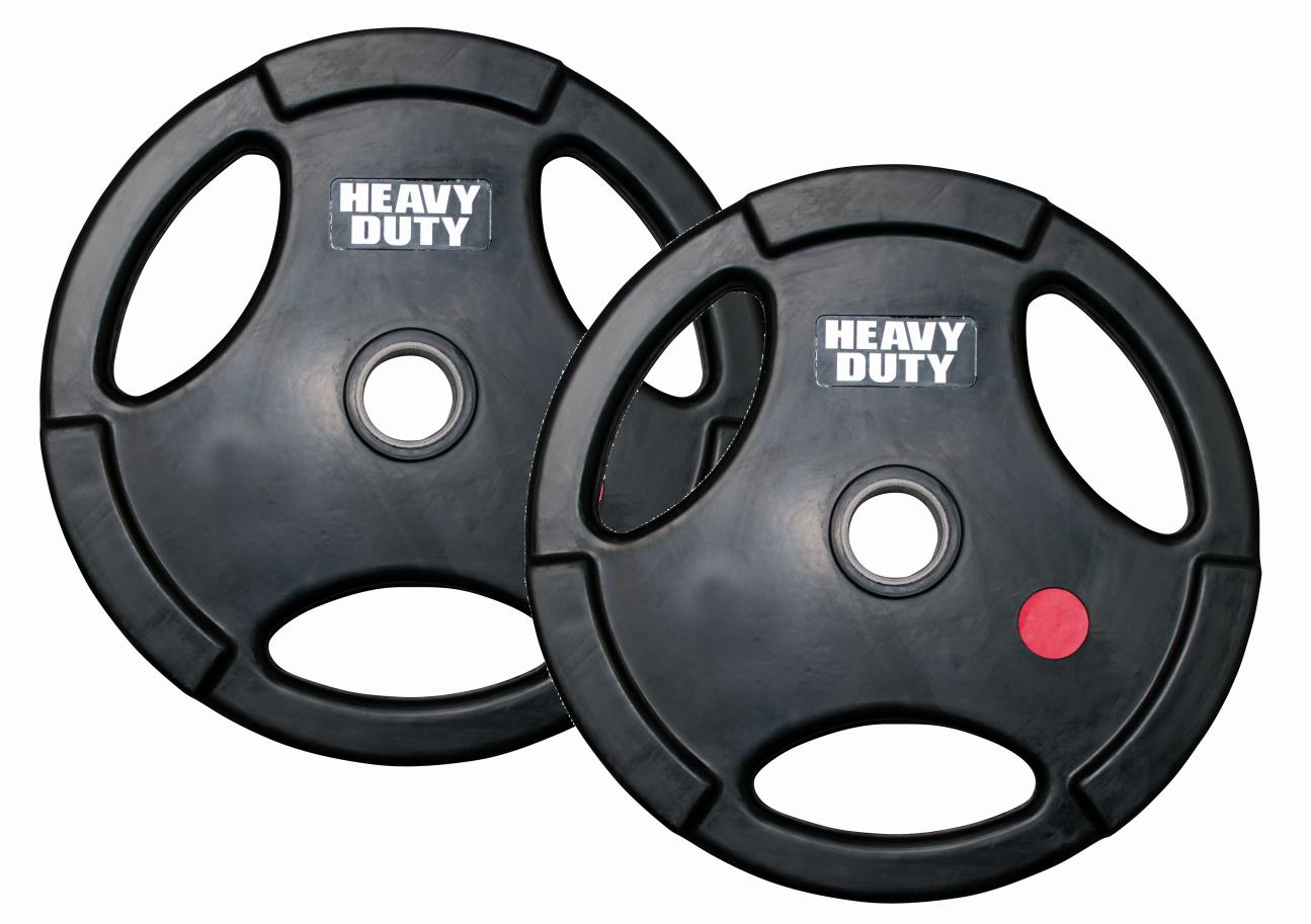 Gummi-Hantelscheibe 50 mm(3-Griffe) - 1,25 kg Scheibe (Paar)